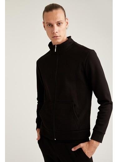 Defacto –Fit Slim Fit Spor Sweatshirt Siyah